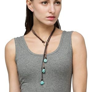 "NEW Leather Y Bohemian Necklace 24"" Turquoise"